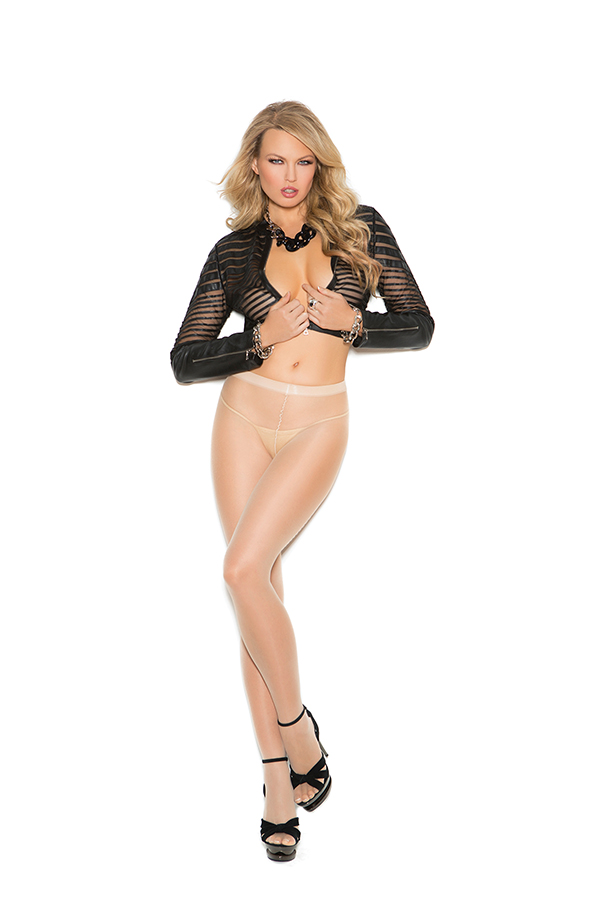 Sheer Cuban foot pantyhose with woven lace up back detail.