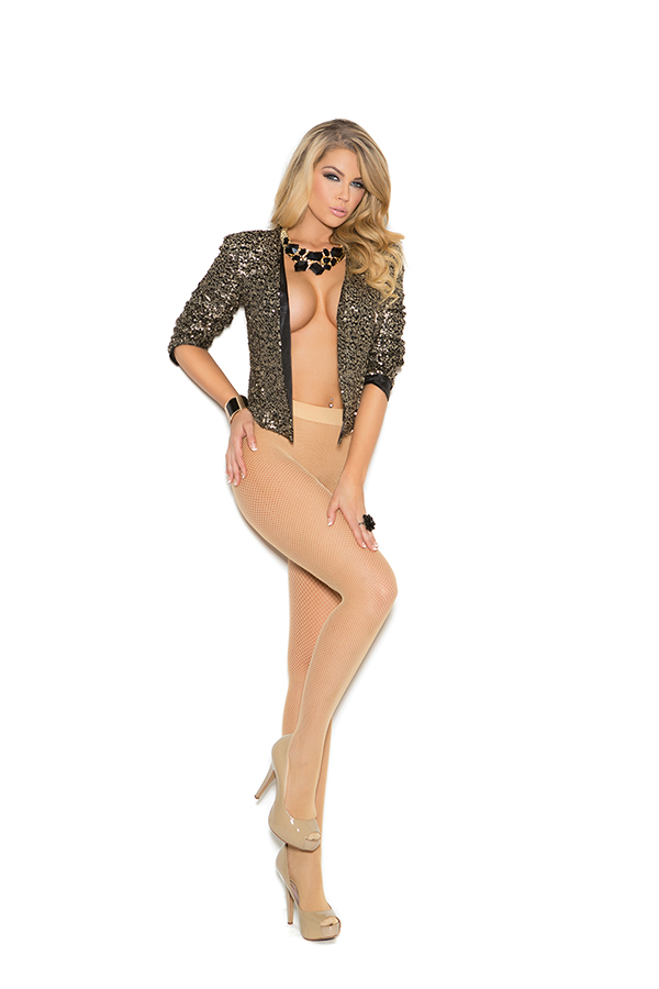 Heavy duty seamless fishnet pantyhose with padded foot.