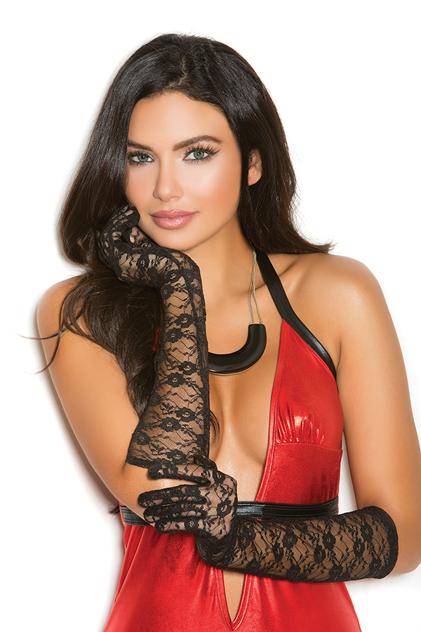 Elbow length lace gloves. 100% Nylon Color: