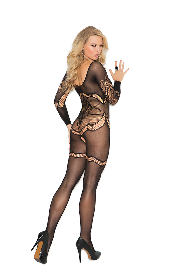 Long sleeve crochet bodystocking with floral design and open cro