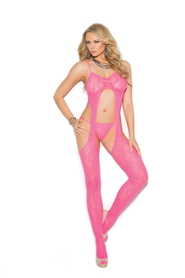 Lace suspender bodystocking and matching g-string.