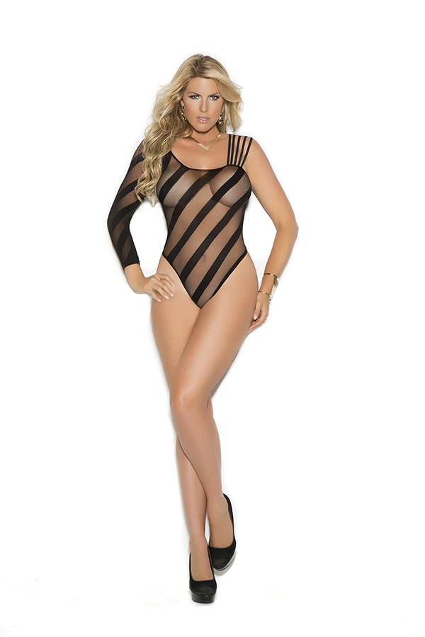 Crotchless sheer burnout teddy.