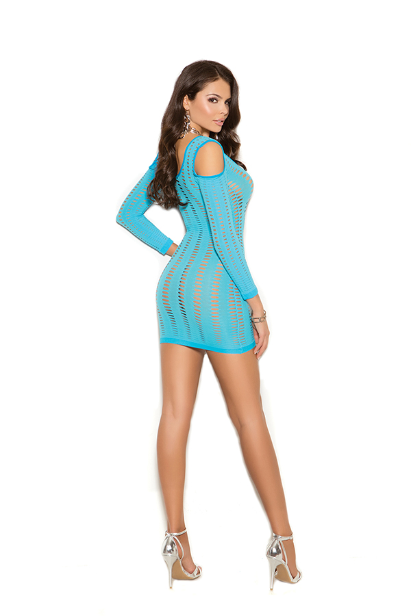 Cold shoulder long sleeve mini dress with cut out detail.