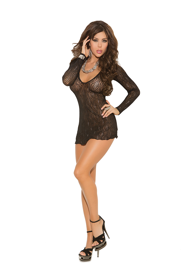 Sparkle swirl lace deep V mini dress with long sleeves.