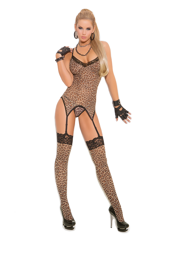 Leopard print camisette, g-string and stockings.