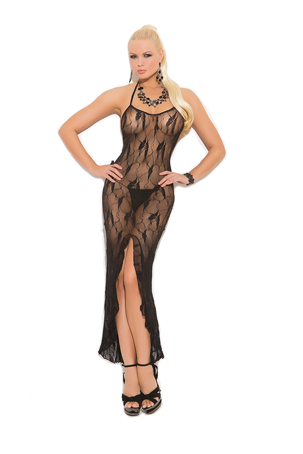 Butterfly lace slip style gown with front slit.