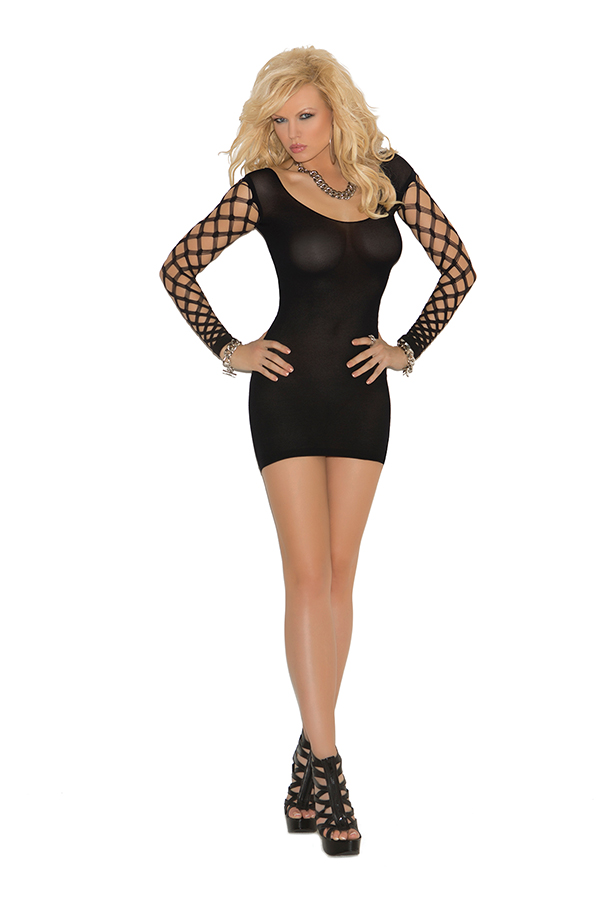 Opaque mini dress with diamond net sleeves.