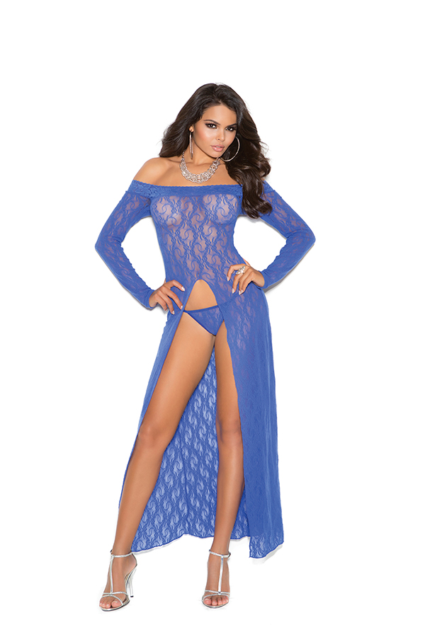 Long sleeve lace gown with front slit and g-string.