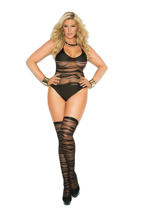 Wave pattern crotchless teddy and matching stockings.