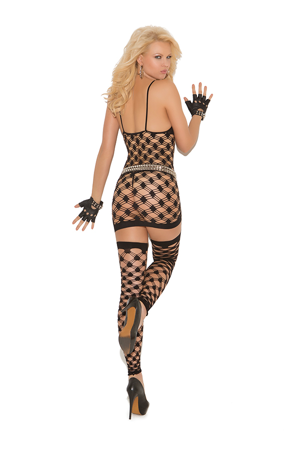 Diamond net halter neck mini dress, g-string and footless thigh