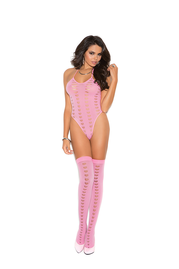 Opaque halter neck teddy and stockings with mesh heart burnout d