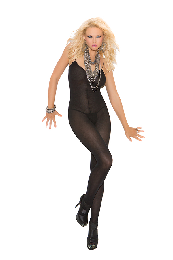 Opaque bodystocking with spaghetti straps and open crotch.