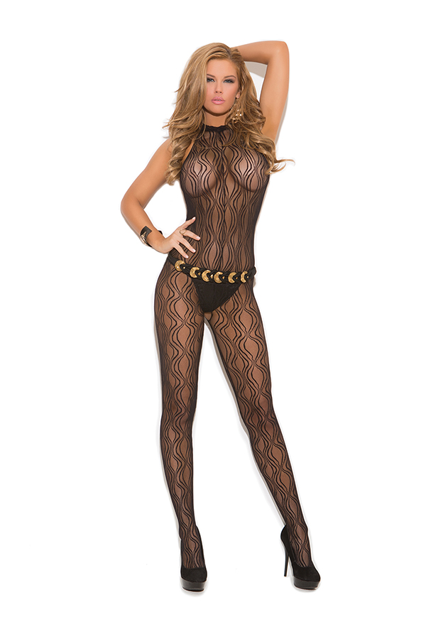 Swirl lace halter bodystocking with open crotch.