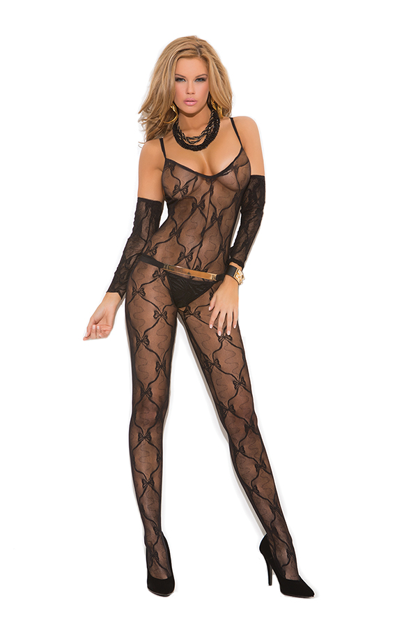 Bow tie lace bodystocking with open crotch and matching gloves.