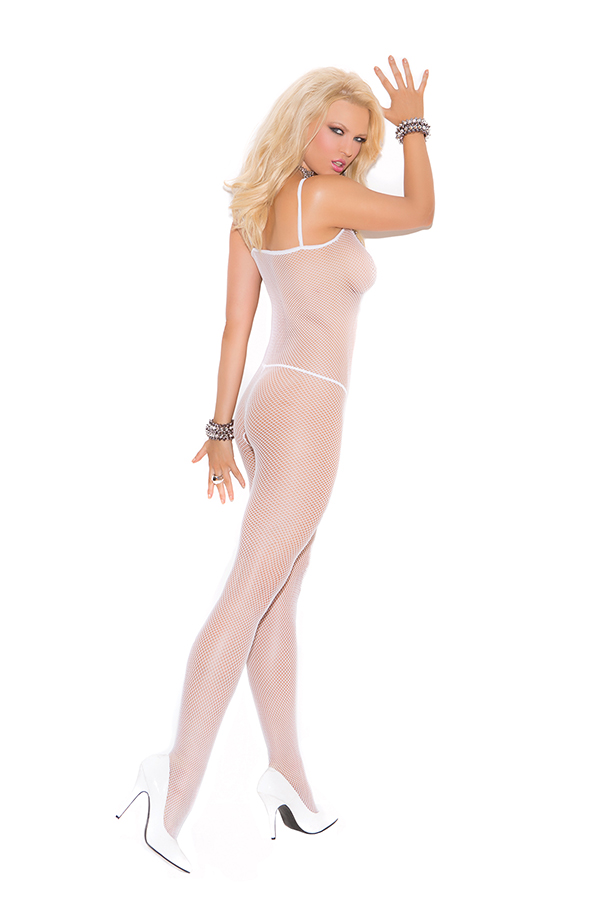 Seamless fishnet bodystocking with opencrotch.