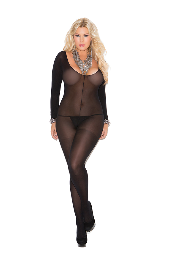 Opaque long sleeve bodystocking with open crotch.