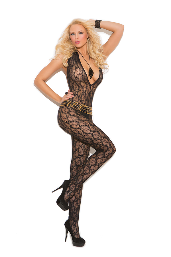 Deep V lace bodystocking with open crotch.