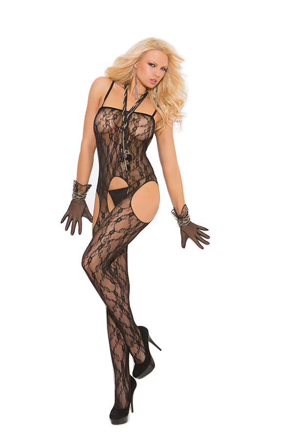 Lace suspender bodystocking.