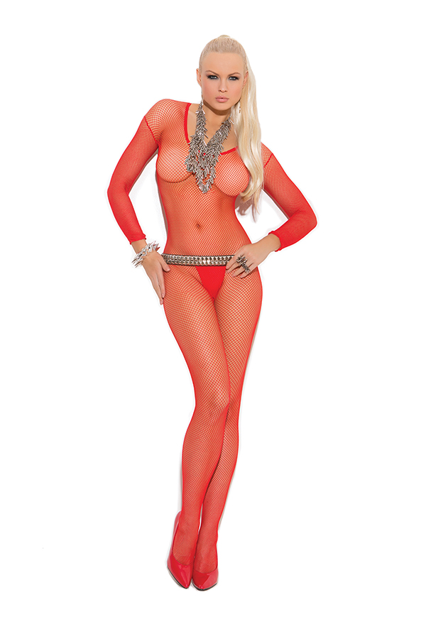 Fishnet long sleeve bodystocking with open crotch.