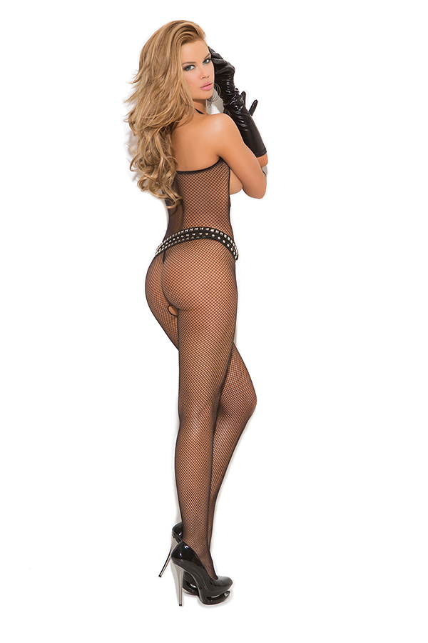 Seamless fishnet halter bodystocking with open bust and crotch.