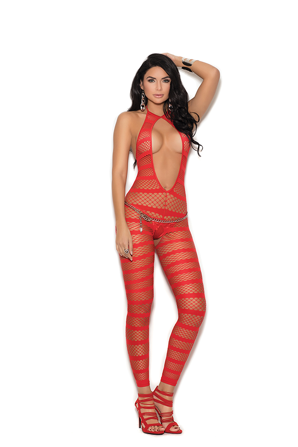 Opaque and diamond net striped bodystocking with open crotch.