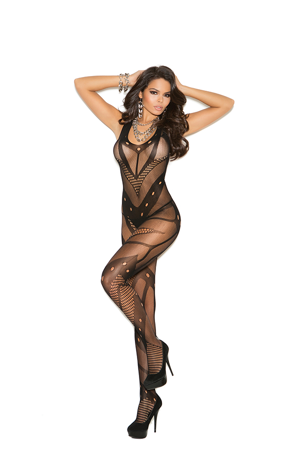 Seamless net crochet bodystocking with open crotch.