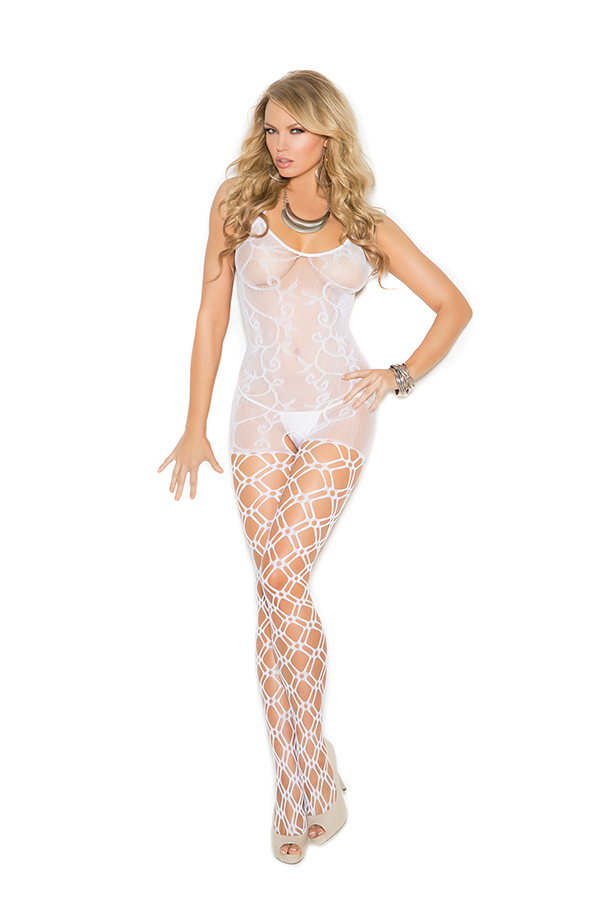 Crochet bodystocking with open crotch.