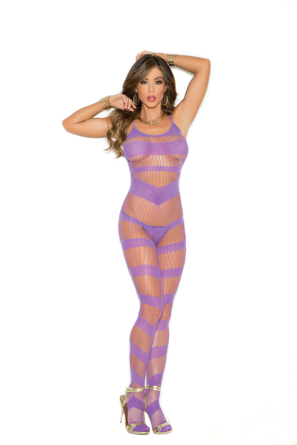 Strappy bodystocking with open crotch.