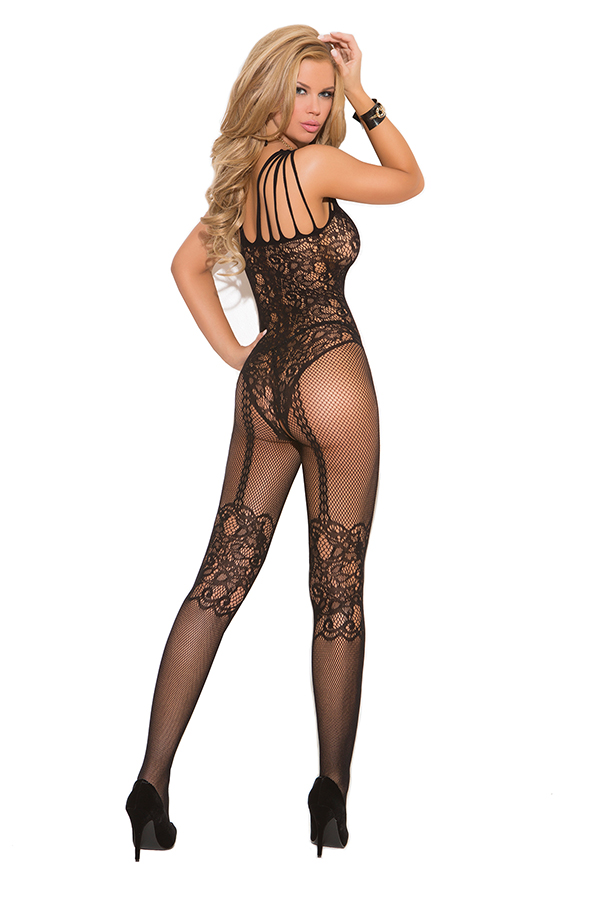 Fishnet and lace bodystocking with open crotch.