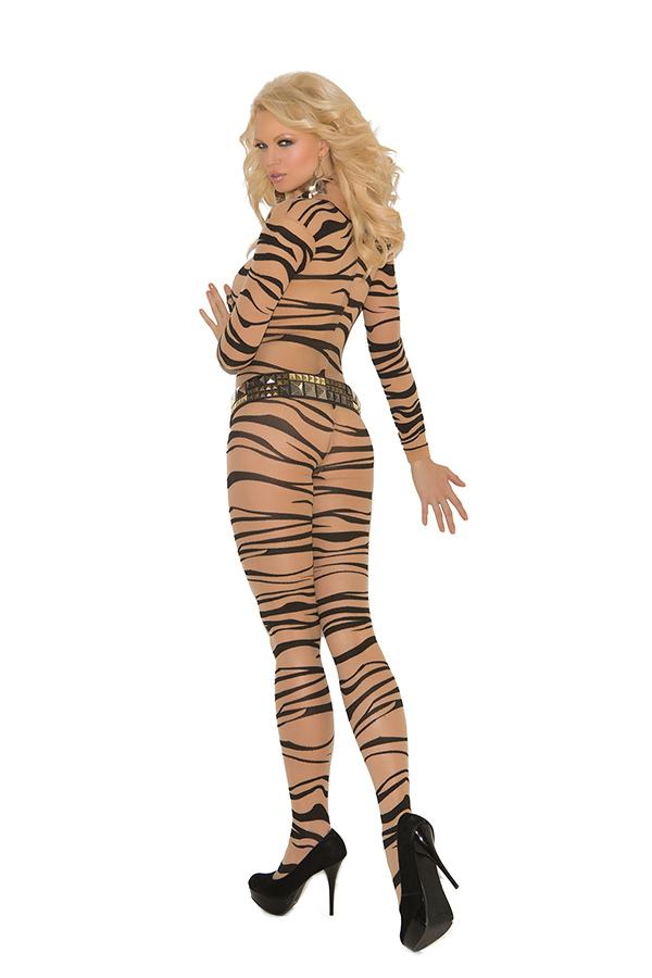 Sheer zebra print long sleeve bodystocking with open crotch.