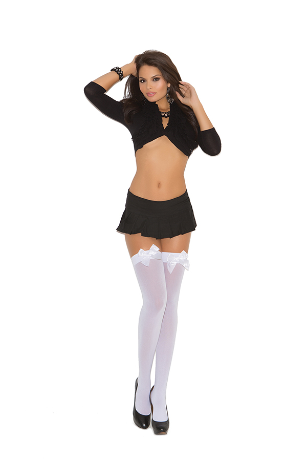Opaque thigh hi with satin bow.