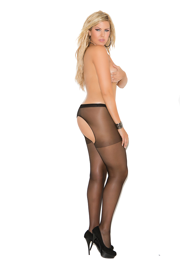 Sheer crotchless pantyhose.