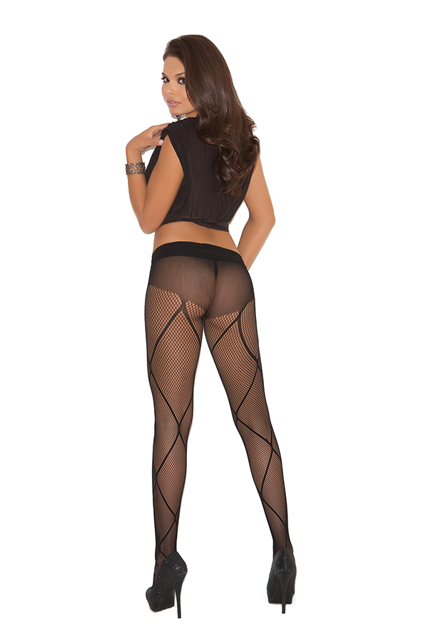 Fishnet pantyhose with criss cross detail.