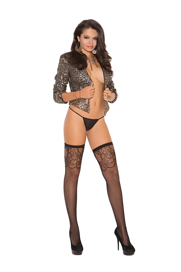 Fishnet thigh hi with scroll design.