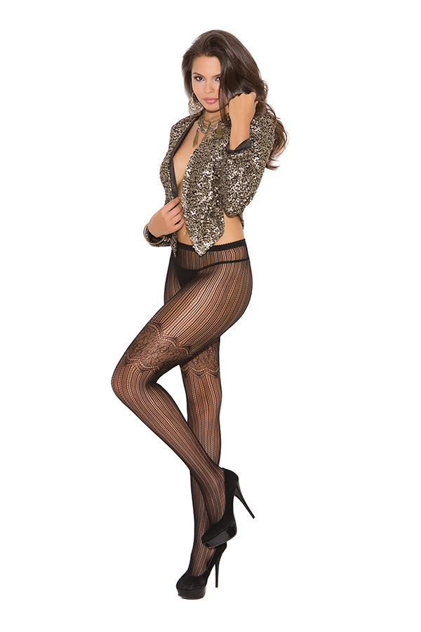 Vertical stripe pantyhose with scroll detail.