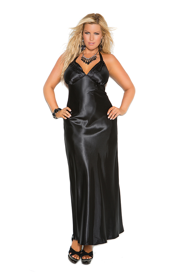 Charmeuse satin halter neck gown. 100% Polyeste