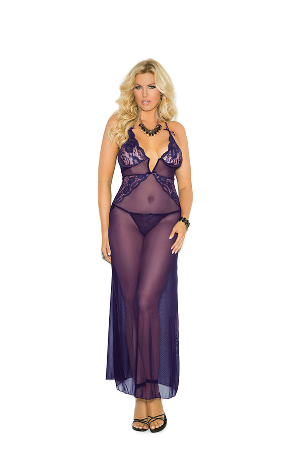 Deep V mesh gown with lace inserts, criss cross ad