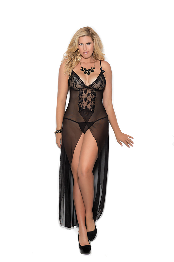 Long mesh gown features front slit, satin bows and