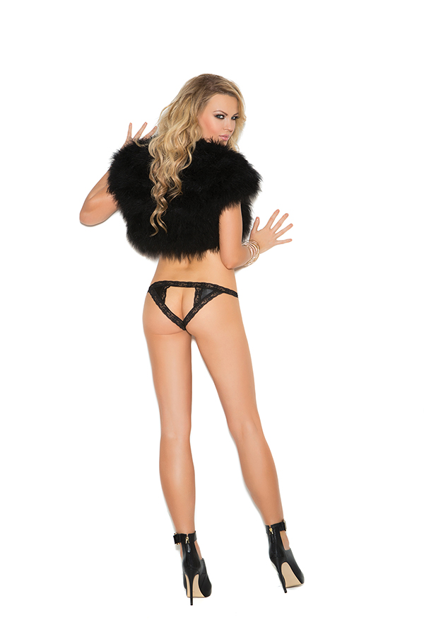 Satin and lace crotchless panty. 100% Polyester