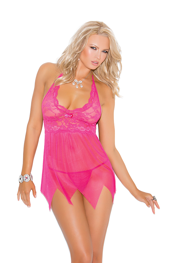 Lace and mesh babydoll features kerchief hemline a