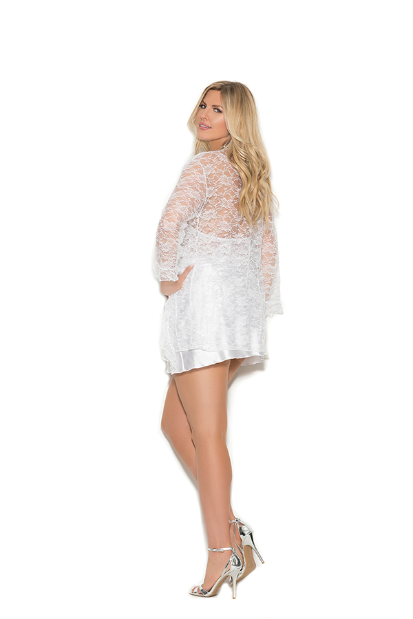 Charmeuse chemise with lace bodice. Matching lace