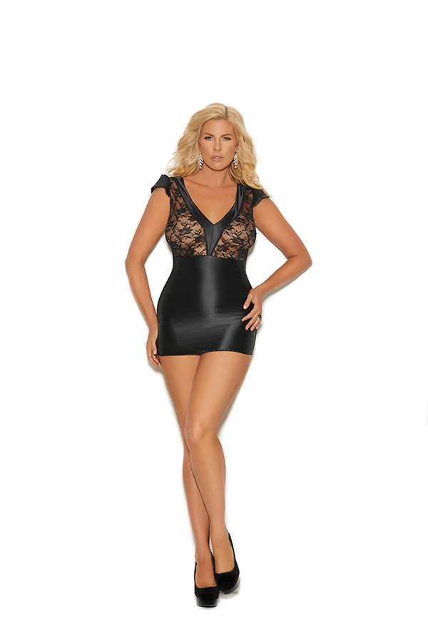 Charmeuse and lace chemise features a V front, cap
