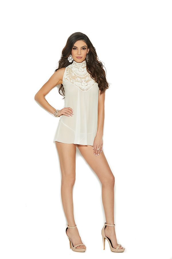 Mesh mock neck babydoll with embroidered detail,