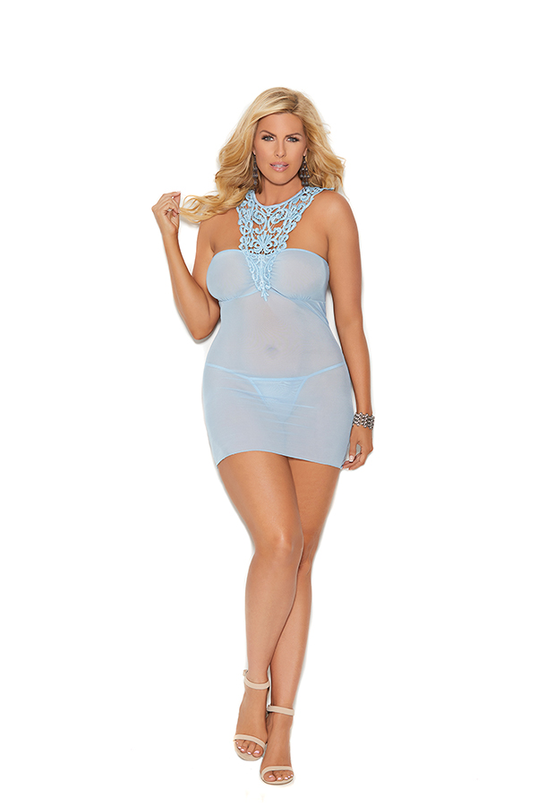 Mesh babydoll with front crochet detail, ruching a