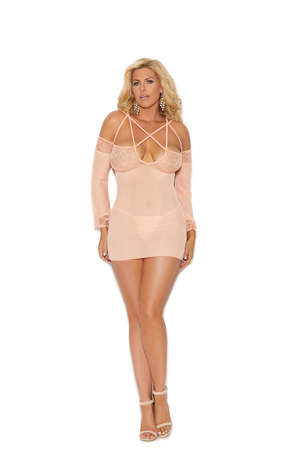 Mesh cold shoulder, long sleeve babydoll. Babydoll