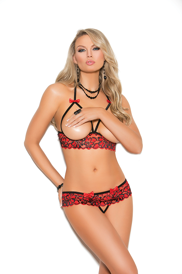 Cupless halter neck lace bra and matching crotchle