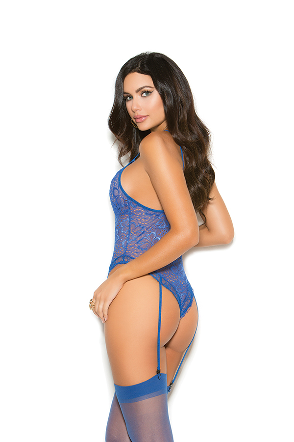 Eyelash lace thong back teddiette with attached ga