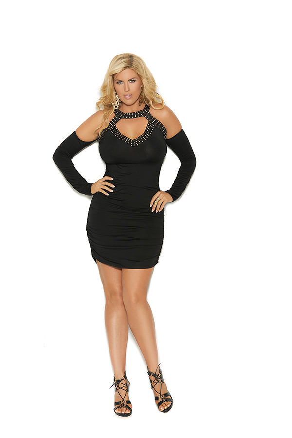 Slip on mini dress with attached sleeves, front gr