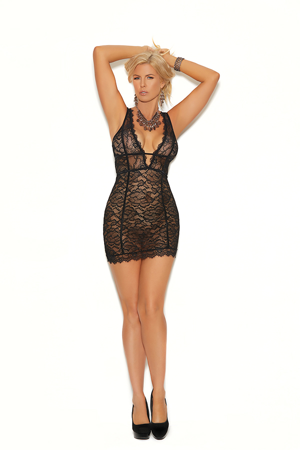 Eyelash lace, double band empire waist chemise wit