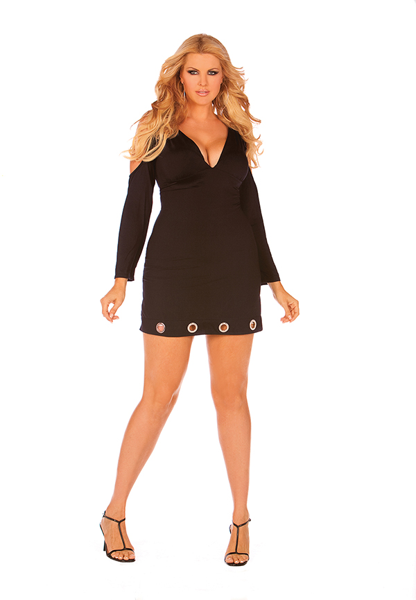 Long sleeve V neck dress with open shoulders and r